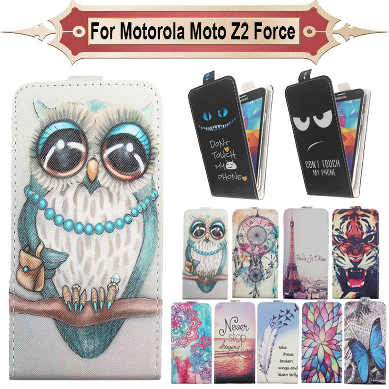 Fashion 11 Colors Cartoon Pattern Up and Down Flip PU Leather Case For Motorola Moto Z2 Force