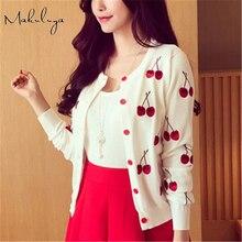 Makuluya Autumn spring women Sweater cherry Embroidery Pattern all-match lady jacket coat Long Sleeve Short Knitting Cardigan