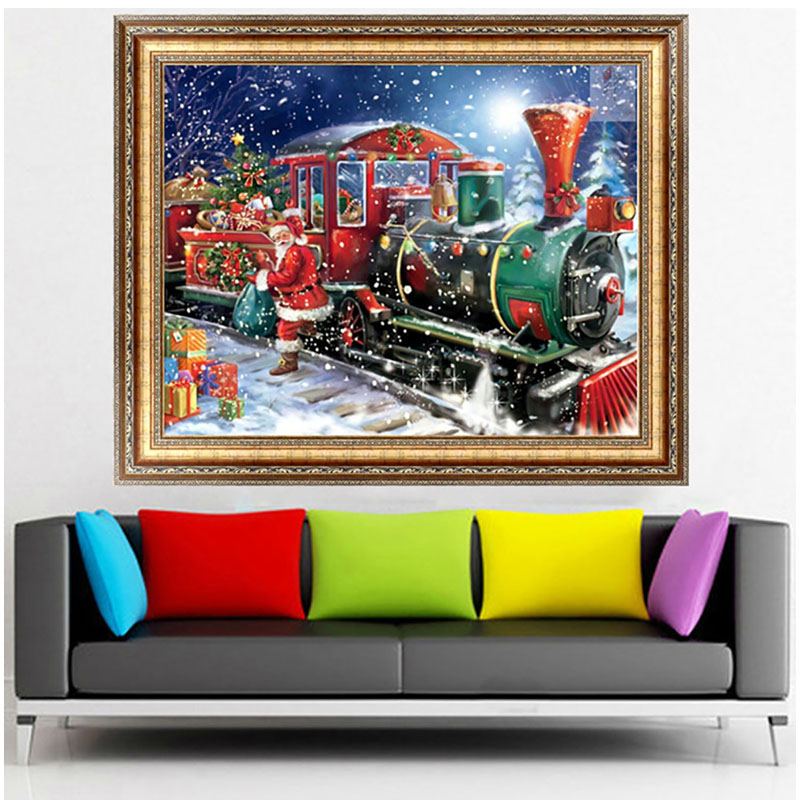 40*30cm DIY Kit 5D Diamond Painting Needlework Dmbroidery Christmas Santa Claus Beaded E ...