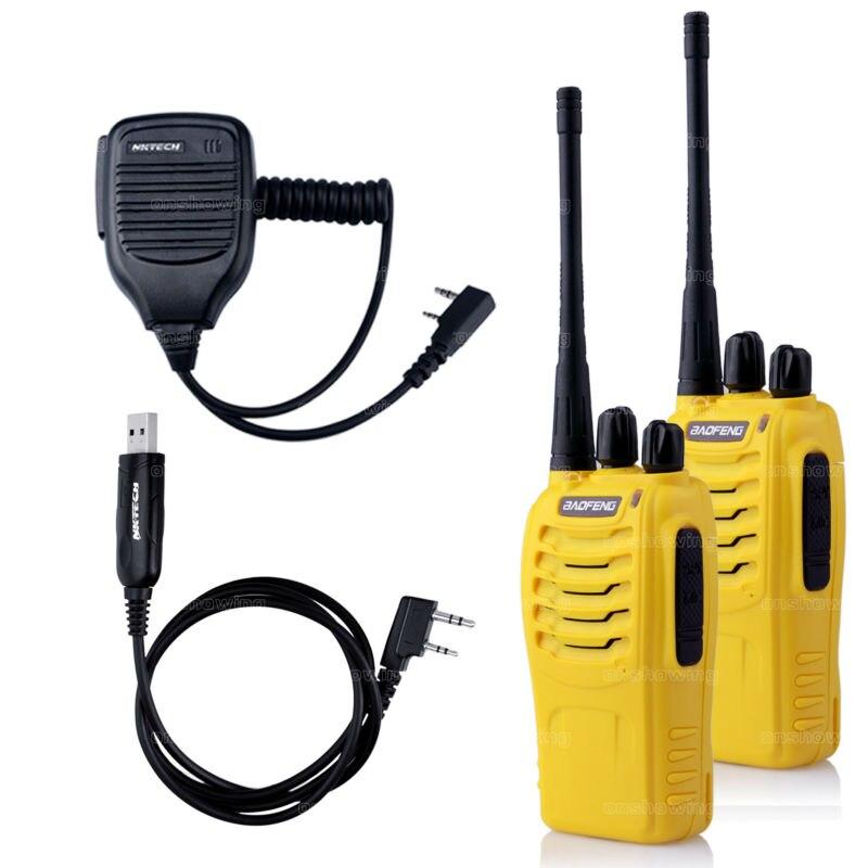 imágenes para 2 unids baofeng bf-888s walkie talkie bf-888s uhf 400-470 mhz 5 w 16ch radioaficionado mini walkie talkie + 1 unids mic + 1 unids cable