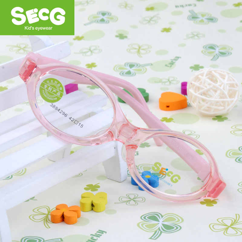 SECG Toddler Baby Soft Round Kids Frame Detachable Optical Children Glasses for Sight Myopia 3 Comfortable Nose Pads Spectacle
