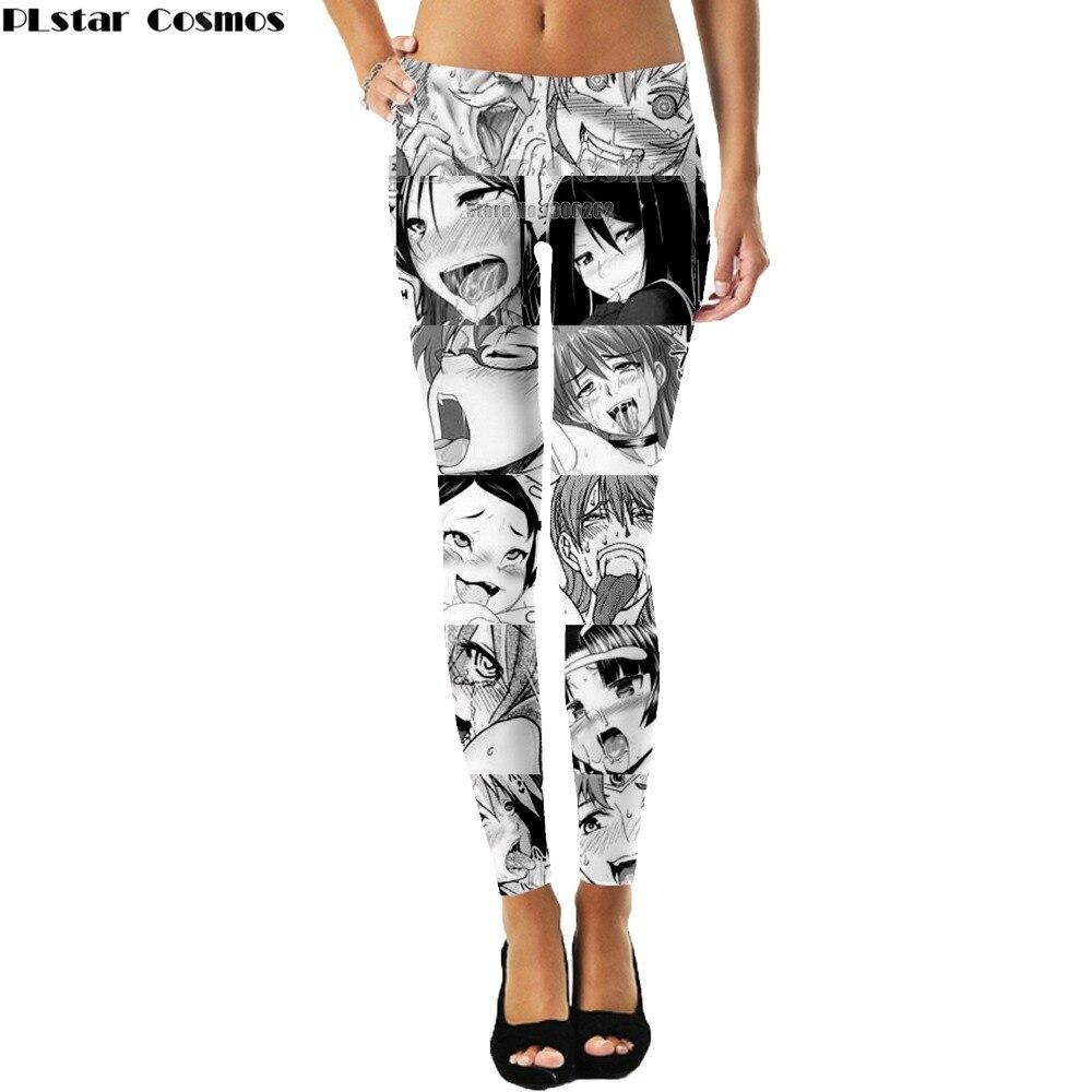 PLstar Cosmos Anime sexy girl Ahegao leggings was thin women Pants 3D Print Leggings Pants New Plus size S-5XL