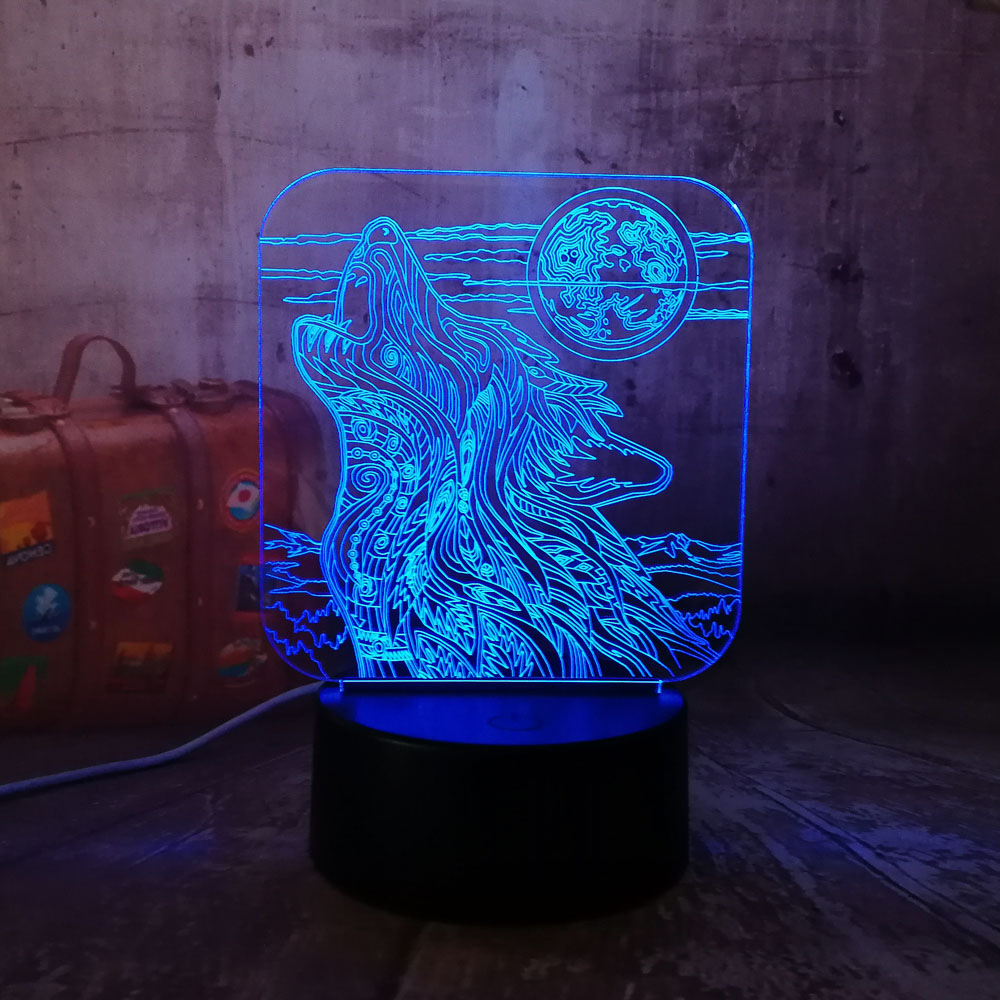 New Full-moon Night Howl Wolf 3D LED Acrylic RGB Night Light USB Touch Control Home Decro Kids Desk Lamp Child Christmas Gift image