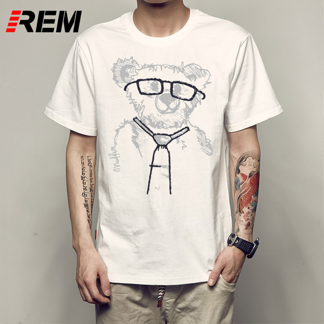 REM Cheapest Fashion Laughing Bear Men T-shirt Short sleeve men The Happiest Bear Retro Printed T Shirts Casual Funny Tops C2654