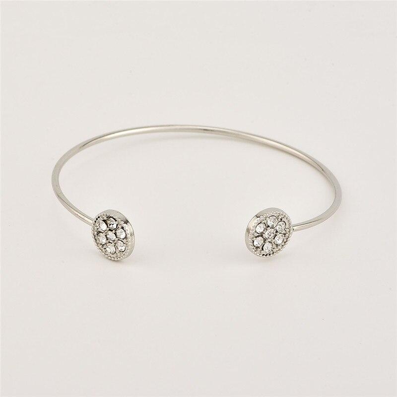 BUTEELUVV Be Brave Keep Going Lettering Bracelet for Women Elegant Shiny Rhinestones Silver Color Geometric Arrow Cuff Bangles
