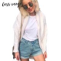 LESSVERGE Winter Knitted Sweater Cardigan Women Elegant Autumn White Cardigan Female Turn Down Collar Sweater Cardigan