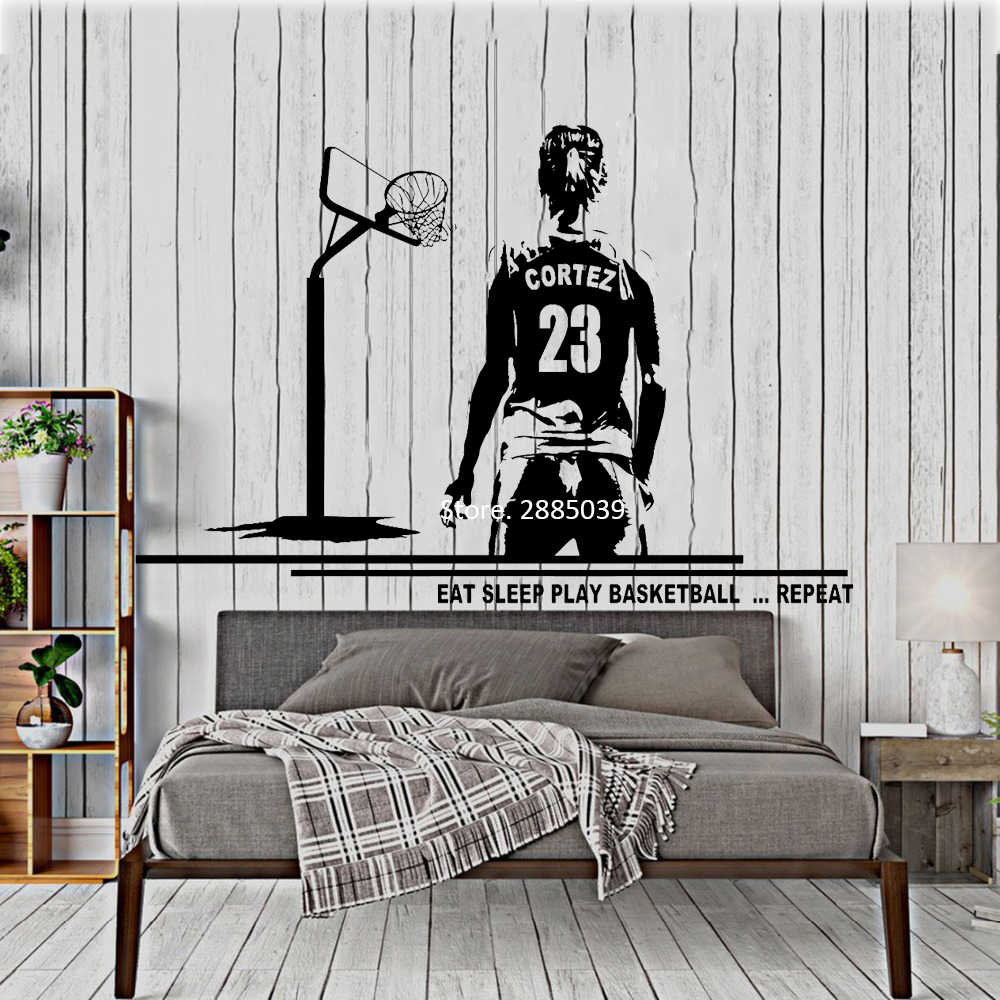 Female Player Wall Decal Basketball Art Wall Decor Mural Custom Name And Jersey Numbers Girl Bedroom Decor Vinyl Stickers Lc1066