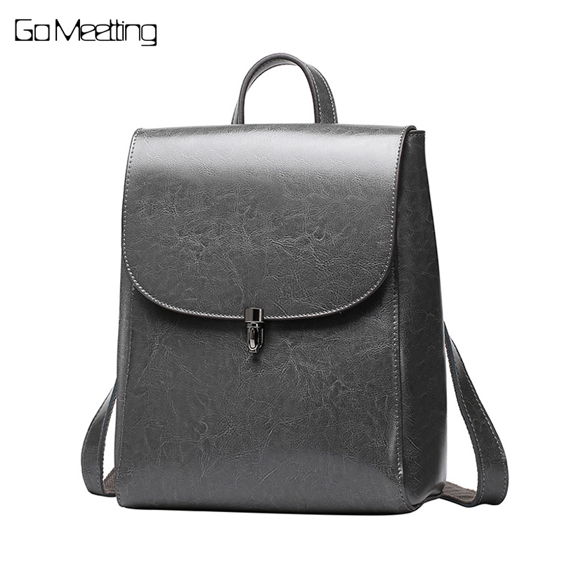 Go Meetting Famous Brand Women Backpack Vintage Genuine Leather Shoulder Bag Women Leisure Solid Color Satchel Girl Backpacks leisure women s satchel with solid color and string design