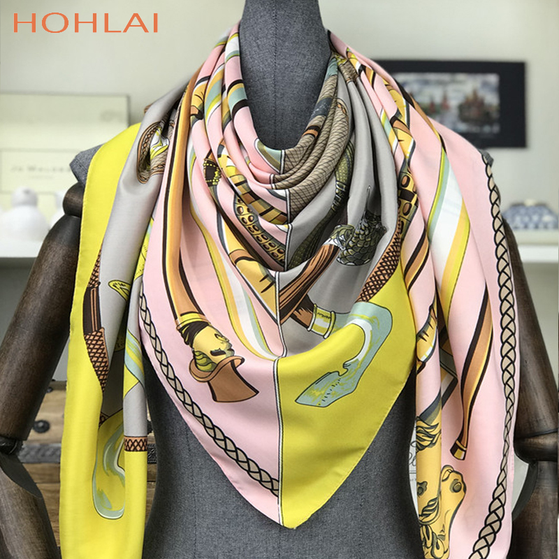 Luxury Brand 2018Summer Women's Scarves Fashion Lady Silk Scarf Print Chain Shawls Pashmina Foulard Femme Square Bandana Hijab