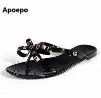 Newest brand jelly shoes women black beige butterfly knot flats sandals summer rivet home slippers mujer flip flops pantuflas