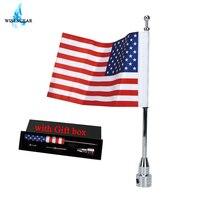 WISENGEAR Chrome Vertical Flag Pole Mount American USA Flag For Harley Touring Sportster 1200 Honda Goldwing GL1800 Luggage Rack