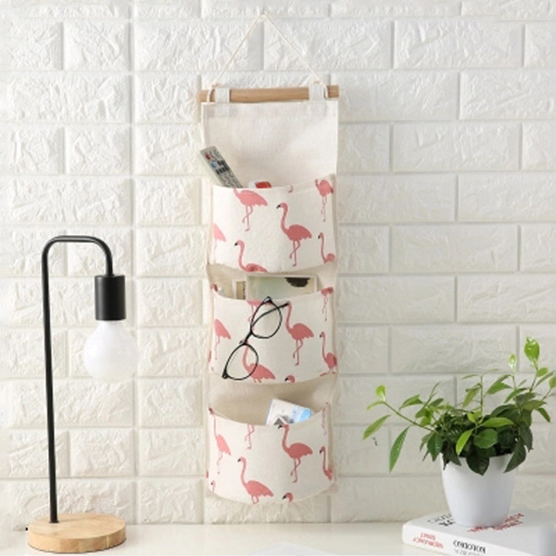Creative Cotton Linen Door Hanging Bag Multi Pockets Wall Mounted Storage Bag Sundries Organizer Pouch Waterproof Storage Bag