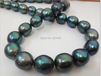 Wholesale HUGE 18 12 15MM NATURAL TAHITIAN GENUINE BLACK PEACOCK GREEN OVAL PEARL NECKLACE