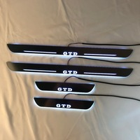 RQXR led moving door scuff for volkswagen golf 6 gtd dynamic door sill plate flat lining overlay flow/fixed light, 4pcs