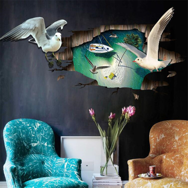 IDFIAF  PVC 3D Seagull WallStickers Wall Window Bathroom Glass Decorations Creative Home Decor Accessories Festival Ornament