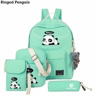 Ringed Penguin Panda School Bags For Teenage Girls Canvas Backpack 4pcs Set Knapsacks For Teens Pencil