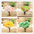 Mini Cherry tree Simulation Tree iron wire Gardening Decoration Micro Landscape Plants Micro View 3.5*2.5cm DIY materials