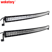 weketory 4D 5D 52 inch 500W Curved LED Work Light Bar for Tractor Boat OffRoad 4WD 4x4 Truck SUV ATV Spot Flood Beam 12V 24v