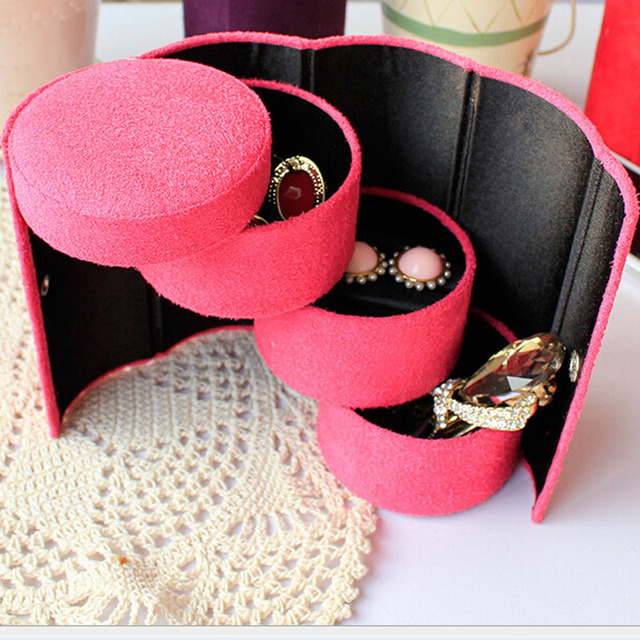 Useful 3 Layers Jewelry Box Accessories Cylinder Cases Necklace