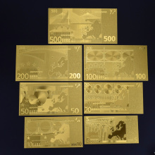 5 10 20 50 100 200 500 EURO Gold Foil Euro Banknotes Commemorative Notes Decoration EUR Collection
