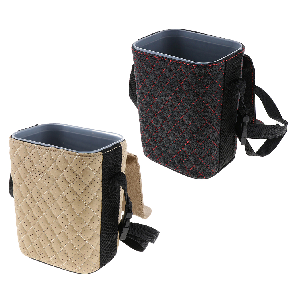 2 Pieces Mini Trash Can For Car Premium Litter Garbage Can Organizer