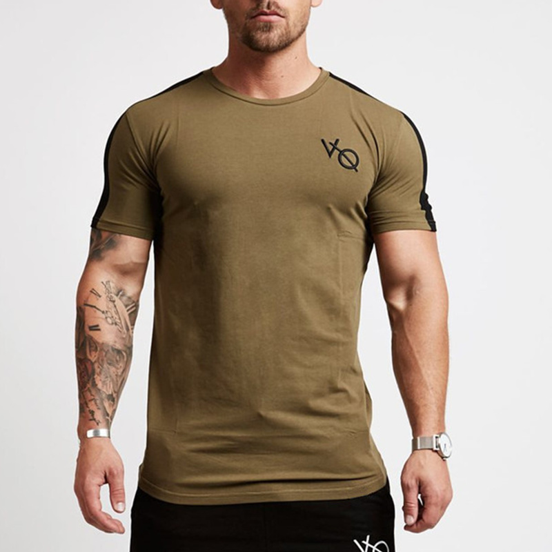 Men short sleeve Cotton   t     shirt   Summer style Gyms Fitness Slim   T  -  shirts   Male Fashion Casual O-Neck Patchwork tees tops clothing