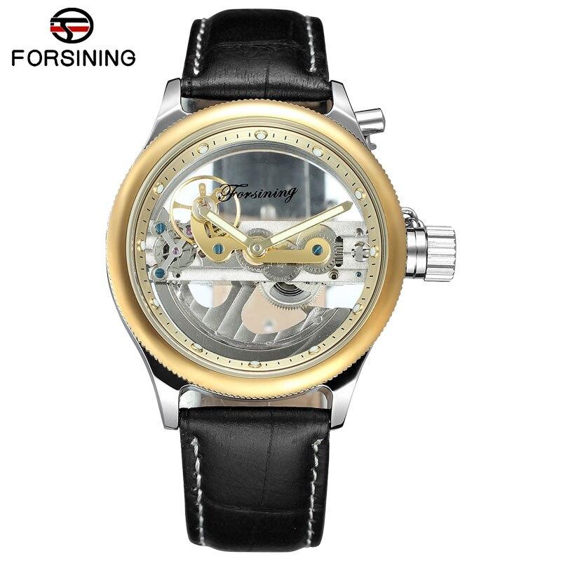 Мужские часы FORSINING, повседневные автоматические механические часы с скелетом, 2018