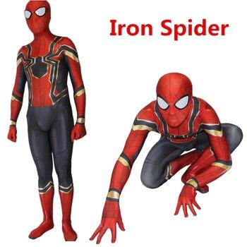 Новый 2018 человек паук выпускников косплэй костюм Хэллоуин Zentai Железный супергерой боди комбинезоны