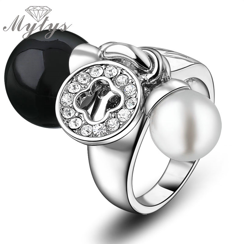 Mytys 2018 Fashion Gift Jewelry Rings For Women White and Black Pearls Female Ring Double Pearls R1219 цены онлайн