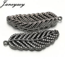 Fashion Brass Cubic Zirconia Accessories Connector DIY Leaves Necklace Earring Pendant Accessories Jewelry Making L33 * W13mm цены онлайн