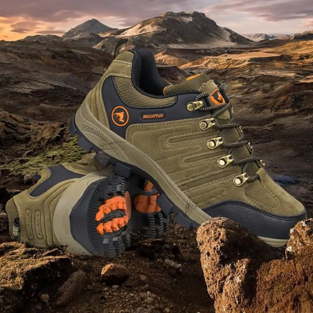 Outdoor Lace-up Hiking Boots Sport Men's Shoes For Camping Climbing Mountain Anti-slip Breathable Shoes Wholesale breathable lace up men outdoor hiking shoes