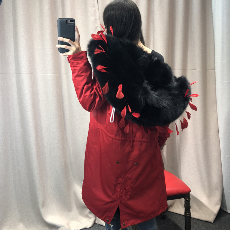 Femmes Hight En Taille Hiver De Plume White solid blackwith white Réel 2018 Fourrure Redfeather fin Manteau With Redfeather Naturelle Black Doublure Mode Renard Whitewith Plus Parkas Tip Rouge Longue La Mujer 5T6Hwqq