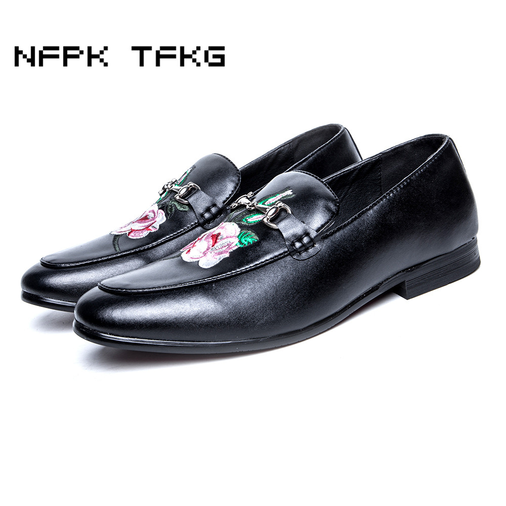 Shoes Loafer Embroidering Designer Dress Italian Big-Size Men's Casual Genuine-Leather