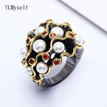 Кольца с кристаллами siam большие кольца черного и золотого