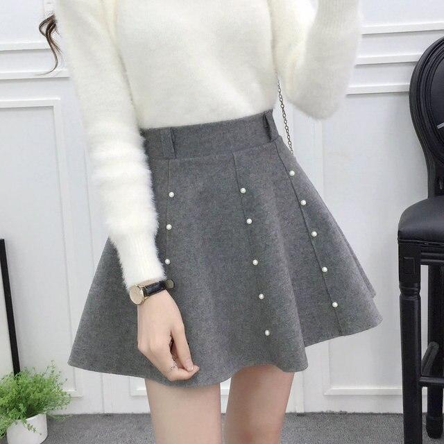 48188d40 € 13.27 49% de DESCUENTO|2019 Otoño Invierno Faldas cortas de lana para  Mujer con forro de cintura alta Mini falda Jupe Faldas Mujer elegante falda  ...
