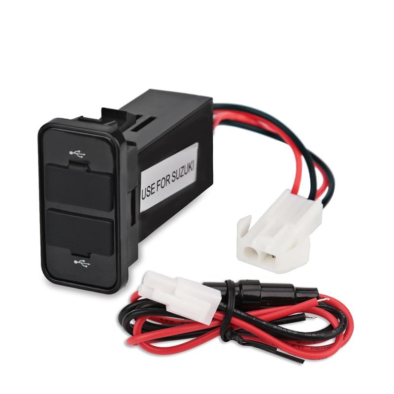 Doppel USB Steckdose Für Auto USB Ladegerät Buchse Interface Auto Ladegerät Adapter Für Suzuki Handy Auto Ladegerät