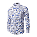 2016  Autumn  Mens Turn-down Collar  Casual shirts Mens  Long Sleeve Slim Fit Dress Shirts 3 Color 5 Size