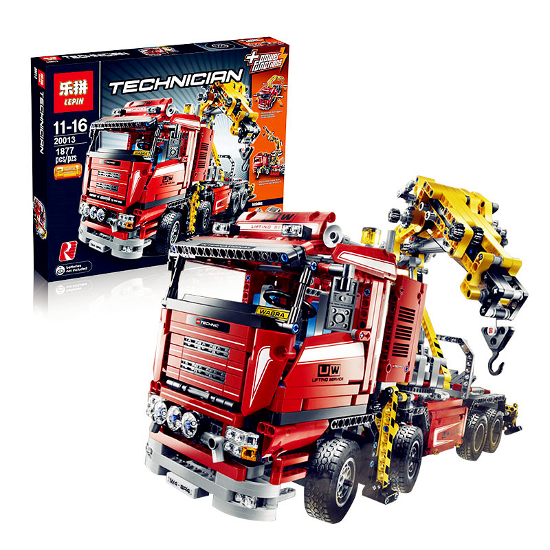 IN STOCK New LEPIN 20013 1877Pcs Crane Truck Wrecker Model Building Kits Blocks Bricks Toys Christmas Gift With 8258 new lepin 22001 in stock pirate ship imperial warships model building kits block briks toys gift 1717pcs compatible legoed 10210