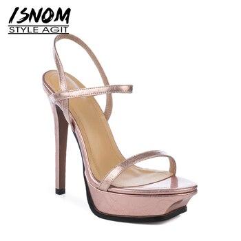 ISNOM Platform Sandals Women Super High Heels Sandals Women 2019 New Summer Wedding Shoes Female Open Toe Cow Leather Shoes