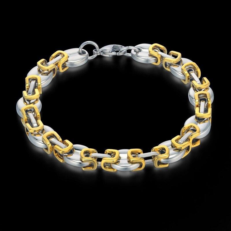 Mens Jewelry Bracelets 2018 Male Stainless Steel Gold Color Byzantine Box Chain Bracelet For Men Wholesale Braslet 11mm 21/23CM