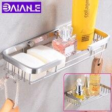 Basket Holder Soap-Dish Storage Wall-Mounted Shower Stainless-Steel Bthroom Shelf Hooks