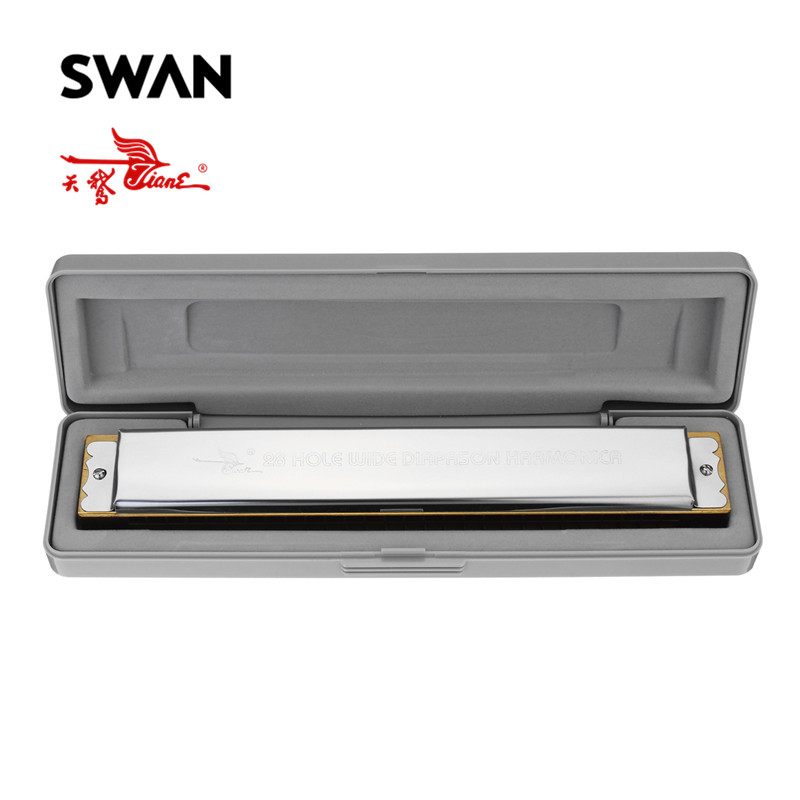 Swan 28 Holes Wide Diapason Key of C Tremolo Harmonica Professional Musical Instruments Woodwind Mouth Organ Harp in Plastic Box