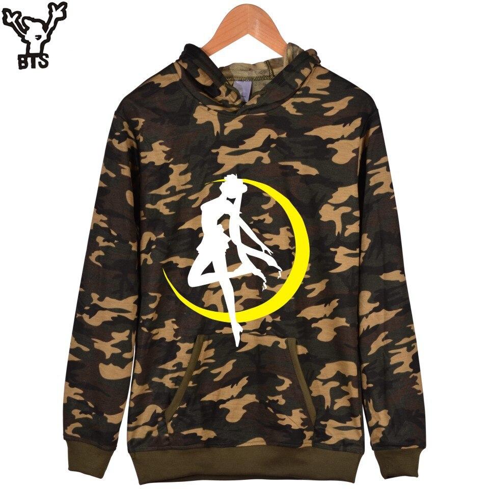 Korean Sailor Moon Camouflage Men Hoodies Plus Size And Sailor Moon Harajuku Rabbit Sweatshirt With Cap Mens Fashion Clothes