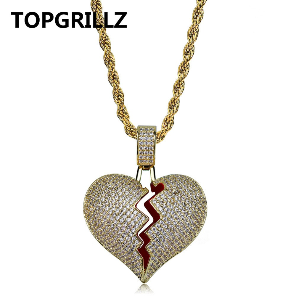 TOPGRILLZ Solid Broken Heart Lced Out Necklace & Pendant Charm For Men Women Gold Color Cubic Zircon Necklace Hip Hop Jewelry cute love heart hollow out kitten pendant necklace for women