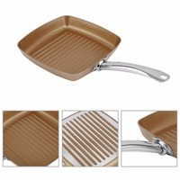 Copper Bottom Coating Non Stick Surface 10.5 Square Grill Pan Ti Cerama Safe Oven Cookware Kitchen Tool Drop Shipping
