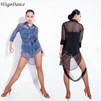 sexy woman Latin dance shirt perspective chiffon acrobatic clothing