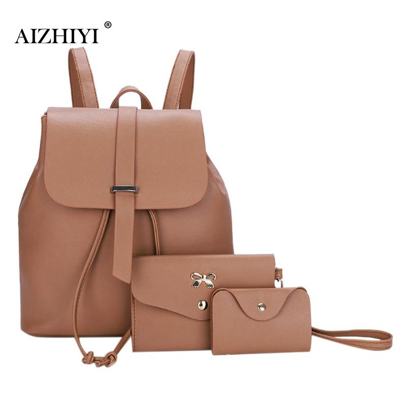 3Pcs/Set Women Elegant Backpacks Female 2018 School Bags For Teenage Girls Black PU Leather Women Backpack Shoulder Bag Purse joypessie composite women backpack pu leather backpack for teenage girls female school backpack with shoulder purse