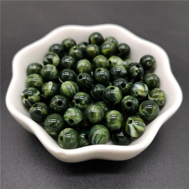 6, 8, 10 мм, Имитация натурального камня, круглые акриловые бусины с эффектом облаков, бусины для изготовления ювелирных изделий, браслет, ожерелье, аксессуары DIY - Цвет: 15-Dark Green