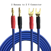 1m 2m 3m 5m – 2 Banana to 2 Y Spade Jack Plug Surround Speaker Audio Cable Home Theater Amplifier Speaker Speakon Wire Cords