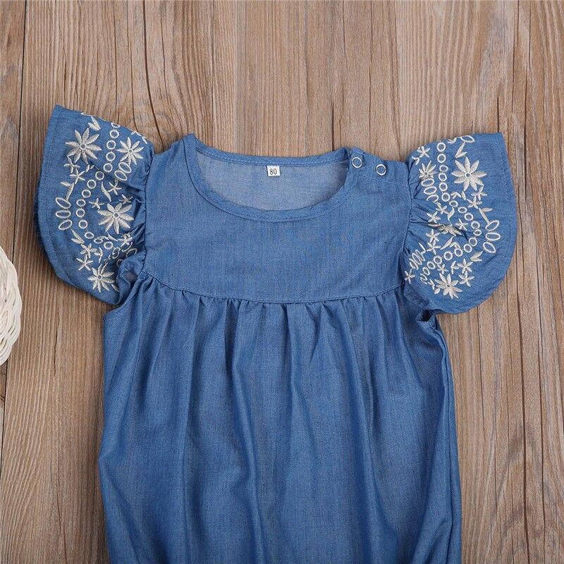 Toddler Baby Girls Denim Backless Solid Button Ruffle Bodysuit V-Neck Kids Sleeveless Lovely Jumpsuit Blue,12M